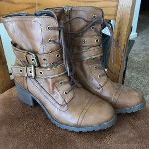 Brown lace up buckle boots